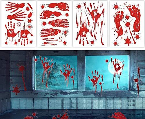 MQIAN Halloween Sticker, Halloween Fenster Aufkleber Blutige Handabdrücken Fußabdrücken Horror Deko Blutflecken-Aufkleber mit Fußabdrücken, Halloween Vampir Party Dekorationen (4 Paket)