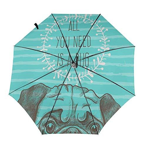 Winddichter Reise-Auto 3-Fach Regenschirm Alles, was Sie brauchen, ist EIN Mops Aqua Dog Folding Leichter tragbarer Sonnenschirm für Frauen Männer