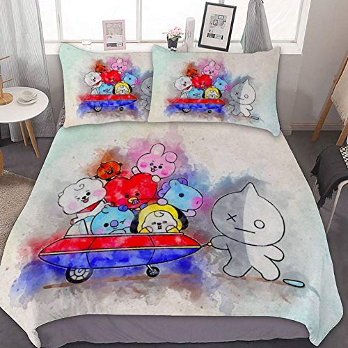 LCGGDB Kpop Duvet Cover Set,BTS Watercolor,Decorative 3 Piece Bedding Set with 2 Pillow Sham,Washed Cotton Duvet Cover,Lightweight Breathable,Suitable for Boys,Girls,Teenagers and Adults,Queen Size