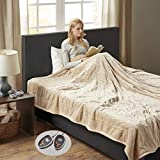 Woolrich Heated Plush to Berber Electric Blanket Throw Ultra Soft Knitted, Super Warm and Snuggly Cozy with Auto Shut Off and Multi Heat Level Setting Controllers, King: 100x90, Tan