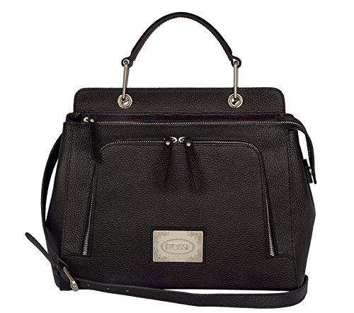 SILVIO TOSSI Damen Leder Handtasche Schultertasche Schwarz Modell 12619-01