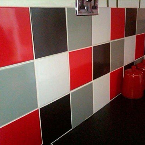 Taille M Rouge /étanche et r/ésistant /à lhuile Ruosaren Lot de 4 autocollants pour carrelage de cuisine 23 cm x 23 cm carrelage de salle de bain