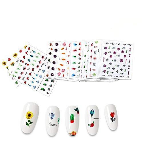 30Pcs Holographic Flower Butterfly Cactus Designs Nagelaufkleber Aufkleber Diy Slider Für Maniküre Nail Art Wasserzeichen Maniküre Dekor-30 Stk