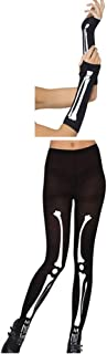 R STAR Skeleton Gloves and Leggings Halloween Costume, keleton Tights and Gloves for Women Black