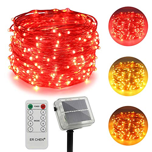 ErChen Dual-Color Solar Powered LED String Lights, 100FT 300 LEDs Remote Control Color Changing 8 Modes Copper Wire Decorative Fairy Lights for Outdoor Garden Patio (Warm White, Red)