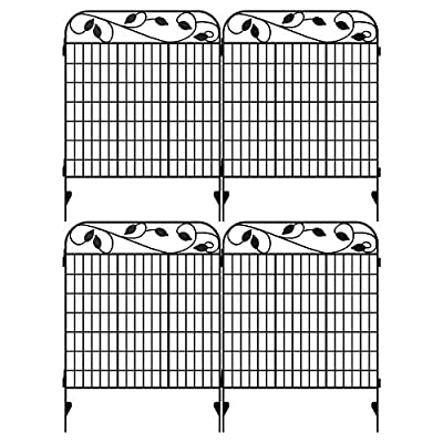 """Amagabeli Metal Garden Fence Border 44"""" x 36"""" x 4 Pack Heavy Duty Tall Rustproof Decorative Garden Fencing Panels Animal Barrier Outdoor Iron Edge Fencing for Landscape Folding Flower Bed Fence Gate"""