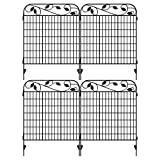 "Amagabeli Metal Garden Fence Border 44""x 36""x 4Pack Heavy Duty Tall Rustproof Decorative Garden Fencing Panels Animal Barrier Outdoor Iron Edge Fencing for Landscape Folding Flower Bed Fence Gate FC07"