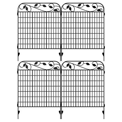 """Amagabeli Metal Garden Fence Border 44""""x 36""""x 4Pack Heavy Duty Tall Rustproof Decorative Garden Fencing Panels Animal Barrier Outdoor Iron Edge Fencing for Landscape Folding Flower Bed Fence Gate FC07"""