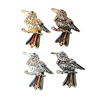 #N/A 4つの混合ヴィンテージエナメル合金クラフトフラットバックラインストーン装飾ボタン - 29x31mm鳥
