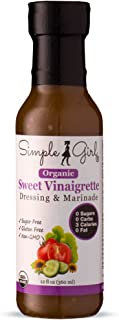 Simple Girl Organic Sweet Vinaigrette Sugar-Free Salad Dressing - 12 oz - Certified Organic - Kosher - Gluten Free - Vegan - Carb Free - Fat Free - Low Calorie Diet Friendly