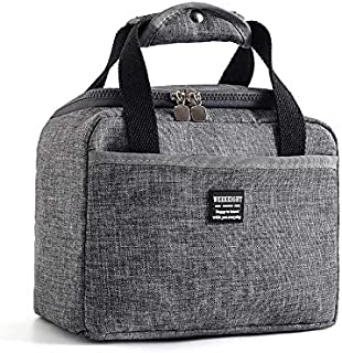 Insulated Lunch Bag, Unisex Reusable Lunch Box Cooler Tote Water-resistant Thermal Leak-Proof Lunch Organizer for School, Work, Office, Picnic, Camping(Grey)