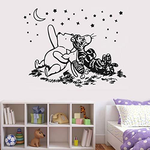 zhuziji Fisch Bullauge Wandaufkleber Springen Piggy Star Starrte Auf Den Mond Klassische Bär Vinyl PVC Wasserdichter Hintergrund Selbstklebende Kindergarten, Baby Wand, 79X50 cm