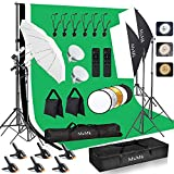 [Upgraded LED Bulb]MsMk Photography Lighting Kit 8.5x10ft Backdrop Support System and LED Softbox Set, 6400K Bulbs, Umbrella, Video Studio Continuous Lighting Kit for Photo Studio, and Video Shooting