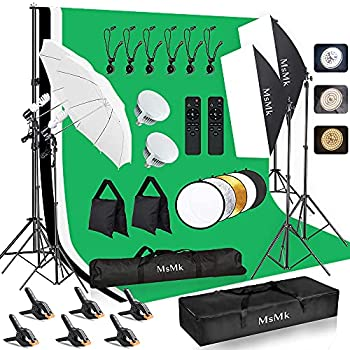 [Upgraded LED Bulb]MsMk Photography Lighting Kit 8.5x10ft Backdrop Support System and LED Softbox Set 6400K Bulbs Umbrella Video Studio Continuous Lighting Kit for Photo Studio and Video Shooting