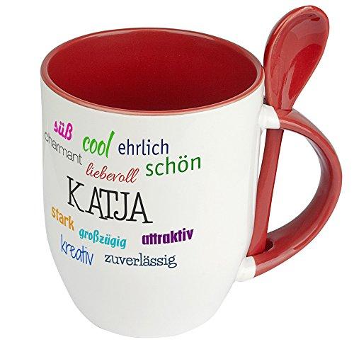 Löffeltasse mit Namen Katja - Positive Eigenschaften von Katja - Namenstasse, Kaffeebecher, Mug, Becher, Kaffeetasse - Farbe Rot