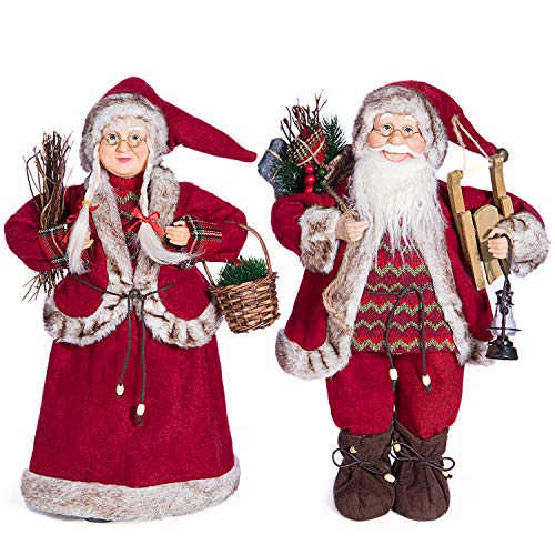 Yeeping Christmas Santa Figurines, Hand Crafted Santa Claus, 2020 Style, Father and Mother Christmas, Santa Doll, Santa Decor, Santa Toy, Christmas Decoration, One Pair Two Figurines, 12 Inch, White