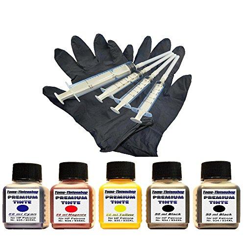 Premium Pigment Tinte Set Nachfülltinte 5 x 50 ml Tinte für Patronen HP 934/935 Black und Color Plus 4 Nachfüllspritzen mit Nadeln und 1 Paar Latexhandschuhe