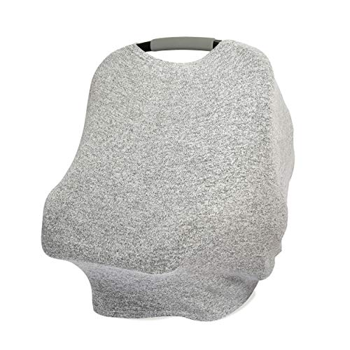 aden + anais Snuggle Knit 6-in-1 Stretchy Multi-Use Cover for Car Seat, Nursing, Cart, Baby Swing, High Chair, Infinity Scarf, Heather Grey