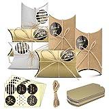 Caja de regalo Candy de papel Kraft, fiestas de cumpleaños, caja de almohadas para bodas, 50 unidades, Pillow Shape