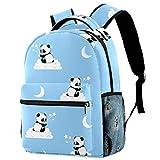 Mochila escolar de 40,6 cm para estudiantes, bolsa de viaje básica para portátil, diseño de osos panda en las nubes