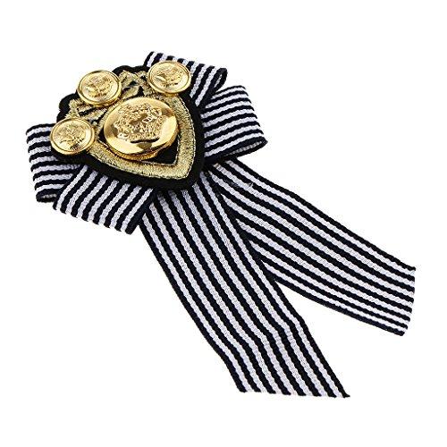 Schleife Form Herren Abzeichen Kleidung Mode Kostüm Brosche, Anzug Accessoire - Schwarzer Streifen