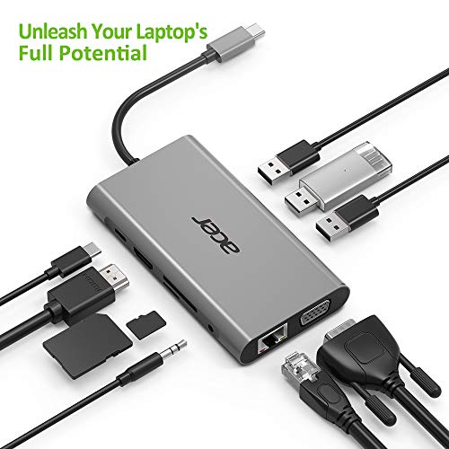 Acer 10-in-1 Mini Dock (USB Type-C zu 1x HDMI, 1x VGA, 1x RJ 45, 3x USB 3.0, 1x SD, 1x TF, 1x USB Type-C (w PD), 1x Klinke 3,5) silber