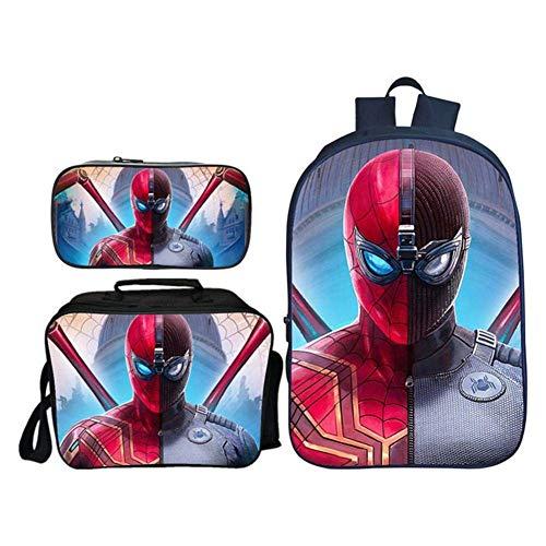 Clo&Thes Spider-Man Book Bag Mochila para Niños Bolsa De Escuela Patrón De Impresión En 3D Paquete De Poliéster Traje De Tres Piezas,10