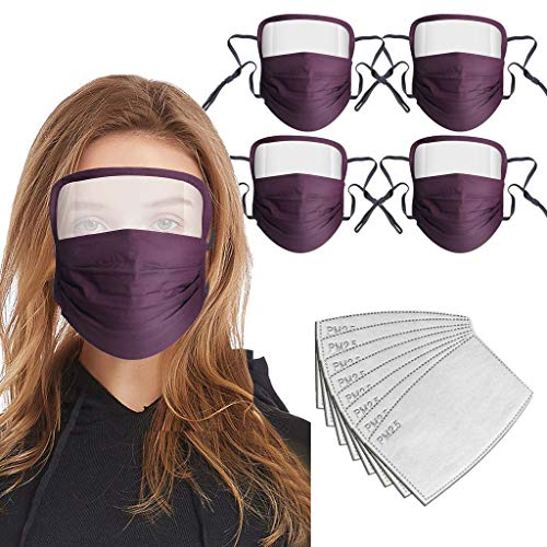 Adult Cotton Washable Anti Dust Breathable Eye Protection Adjust Face Integrated (5Pcs Purple+ 10Pcs Filters)