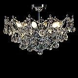 Lámpara de araña de cristal moderna, lámpara de techo de cristal transparente con 6 luces, accesorio de iluminación colgante LED de montaje empotrado para sala de estar, comedor, pasillo, escalera,