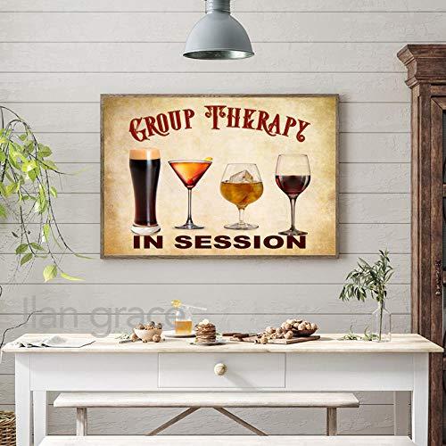 SNGTOW Cartel de Bar Retro Impresión de Arte Decoración de Pub Terapia de Grupo Cita Divertida Lienzo Pintura Cerveza Vino Arte de la Pared Imagen Cocina Cartel Vintage | 50x70cm Sin Marco