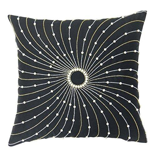 S4Sassy Hechos a Mano del Amortiguador de la Cubierta Decorativa de Piedra Negro con Cuentas Funda de Almohada Cuadrado de 24 x 24 El Tiro