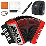 Hohner COFR Compadre FBbEb Accordion, Red & Silver Grille Bundle with Hohner Bag, Strap, Mini Harmonica, Juliet Music Polish Cloth & Piano Key Stickers