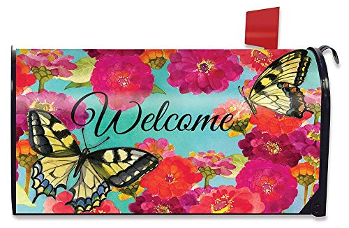 Briarwood Lane Morning Butterflies Spring Magnetic Mailbox Cover Floral Standard