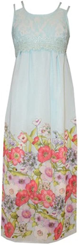 Bonnie Jean Floral Maxi Dress Size 4 Aqua