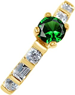 1 Ct Simulated Green Emerald & White Topaz CZ Solitaire Ring in 14K Gold Over Sterling Silver
