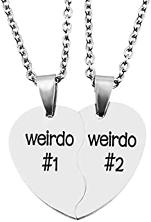 His & Hers Matching Set Titanium Stainless Steel Split Heart Engraved Friendship Valentine Coupless Necklace