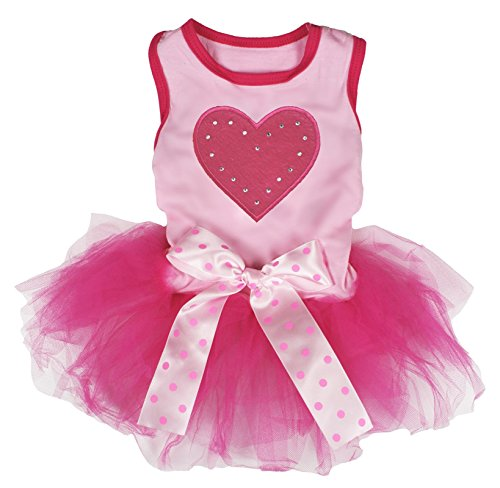 Petitebella Puppy Kleidung Hund Kleid Ostern Tragen Hot Pink Heart Pink Top mit Tutu Kleid, Medium, Rose