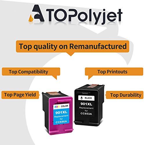 ATOPolyjet Cartuchos de tinta remanufacturados para HP 901XL 901 XL Combo Pack Uso para HP Officejet 4500- G510g/G510h Officejet J4524 J4525 Wireless -G510n Printer (Negro, Color)