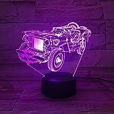XQFZXQ 3D LED Luz de Noche Forma de vehículo todoterreno antiguo Ilusión óptica Lámpara de Mesa Luz iluminación Night Light Niños 16 Colores de Control Remoto con Acrílico Plano & ABS Base & Cargador