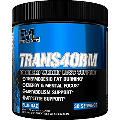 Evlution Nutrition Trans4orm Thermogenic Energizing Fat Burner Supplement, Increase Weight Loss, Energy and Intense Focus, 30 Servings