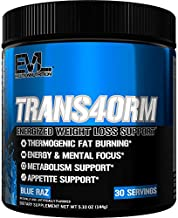 Evlution Nutrition Trans4orm Thermogenic Energizing Fat Burner Supplement, Increase Weight Loss, Energy and Intense Focus, 30 Servings (Blue Raz)