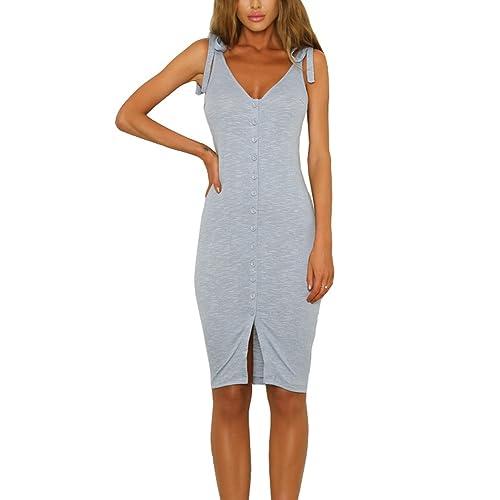 512b4071e583 Eliacher Women s Button Down Adjustable Straps Summer Dress Sleeveless  Bodycon Party Dresses