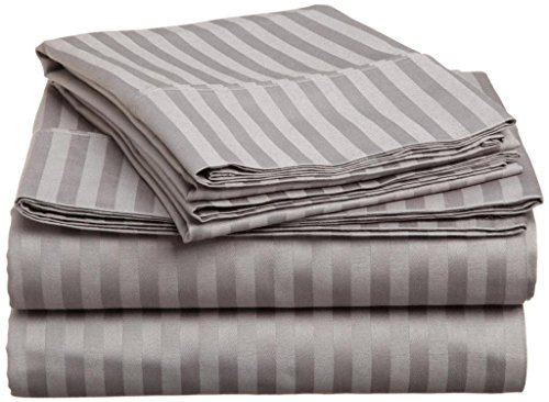 SRP Linen Egyptian Cotton 300-Thread-Count Super Soft 3PCs Button Closure Designer Duvet Cover Set Euro Double IKEA Striped Silver Grey