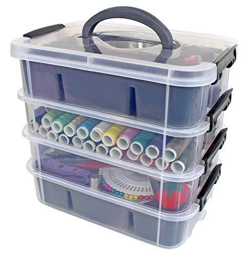 Bins & Things Stackable Storage Container with 2 Trays - Blue - Craft Storage/Craft Organizers and Storage - Bead Organizer Box/Art Supply Organizer