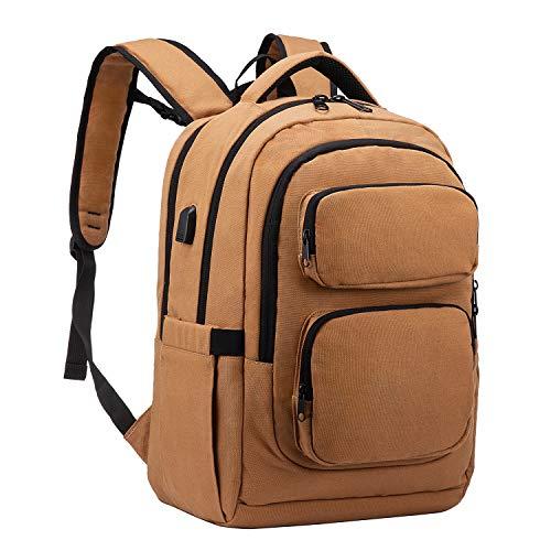 LOVEVOOK Mochila para ordenador portátil de 15,6 pulgadas, mochila escolar para jóvenes, adolescentes, con puerto de carga USB, multifunción, para negocios, para trabajo/viaje, color marrón