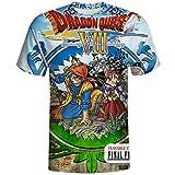ドラゴンクエスト フルフレーム印刷 人気メンズTシャツトップ 速乾性半袖 L