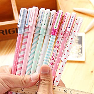 NYKKOLA 10 Pcs Multi Colors Colorful Gel Ink Pen Cute Korean Cartoon Pin Type Wholesale kawaii stationery 10 pens 10 Colors Set
