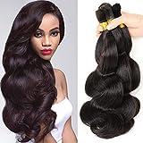 Hannah product Human Hair For Micro Braids Bulk Hair No Weft Brazilian Natural Black Body Wave Human Bulk Hair 4 Bundles 200g Brazilian (16 18 20 22 Natural Black #1B)