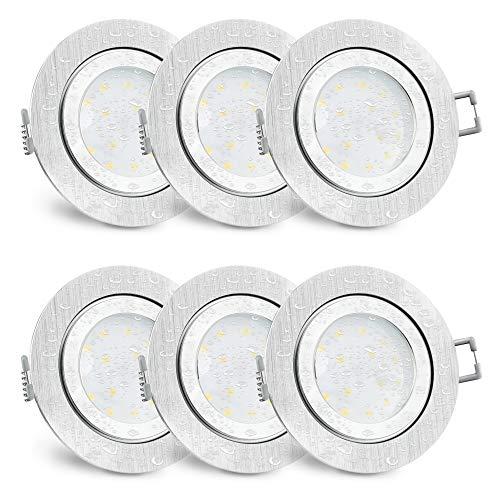 6 Stück SSC-LUXon RW-2 Einbaustrahler LED flach IP44 Alu für Bad & Außen - mit 5W LED Modul warmweiß 230V - Einbauspot rund