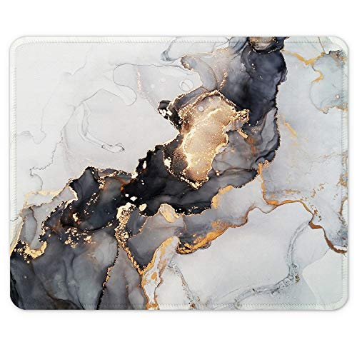 Auhoahsil Mouse Pad, Square Marble Design Anti-Slip Rubber Mousepad with Stitched Edges for Office Gaming Laptop Computer Men Women, Pretty Customized Pattern, 9.8' x 7.9', Desktop White Ink Marble